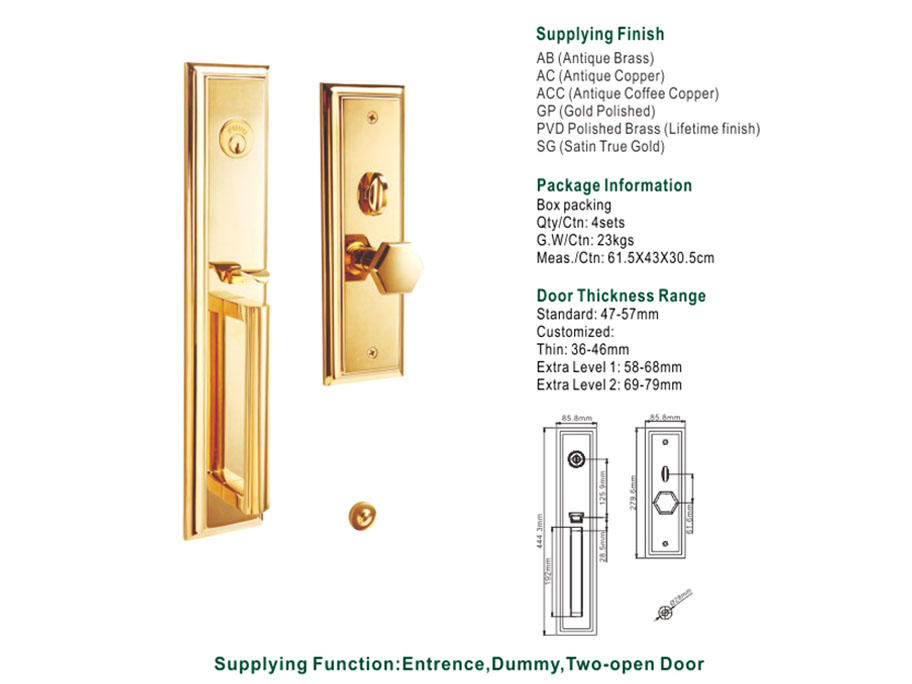FUYU products brass mortise lock with latch for shop