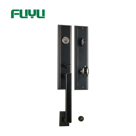 Black Color Zinc Alloy Plain Modern Style Big Handle Door Lock