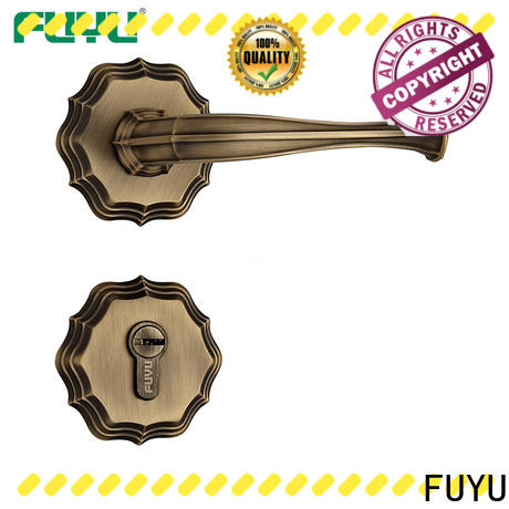 FUYU finish brass bathroom door handles with lock on sale for home