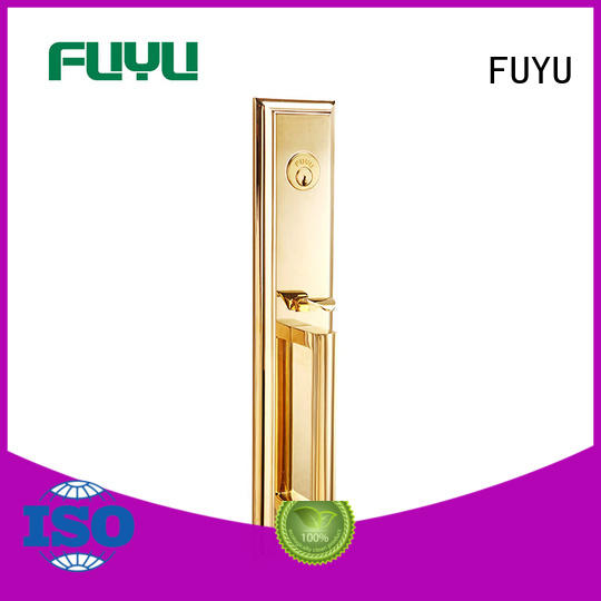 FUYU brass door knob with lock with latch for shop
