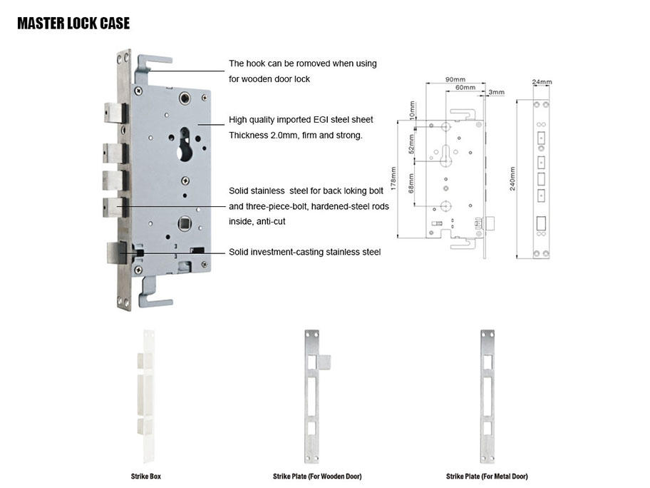 FUYU stronge stainless steel lock entrance for shop-3