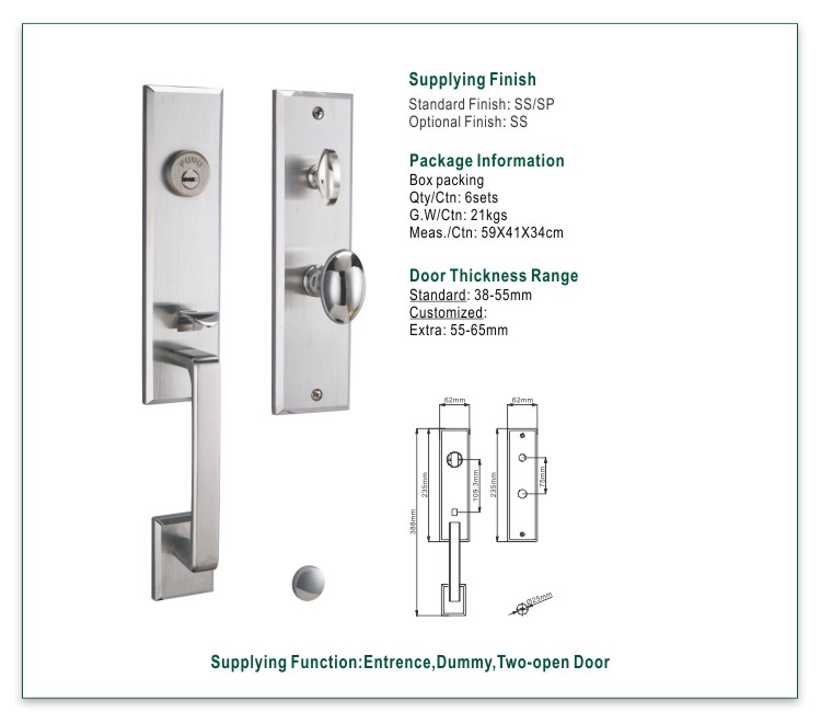 product-SS 304 grip handle mortise handle lock complete set for wooden door-FUYU-img