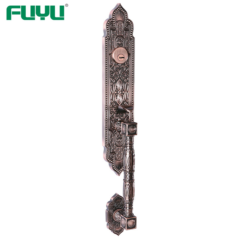 Antique Brass Finish Zinc Alloy Mortise Grip Handle Entrance Door Lock