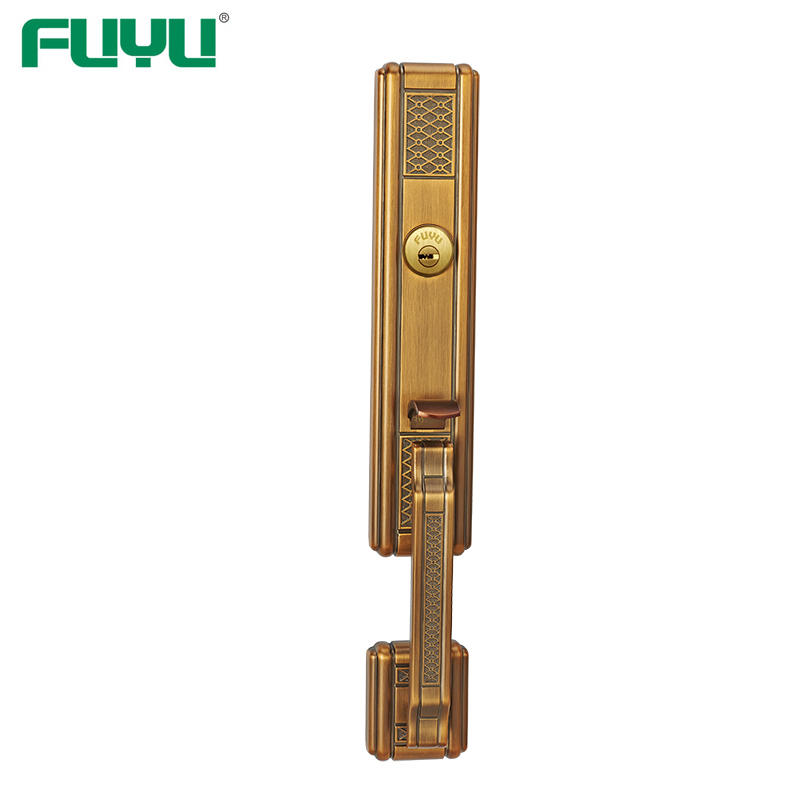 Zinc Long Plate External Wood Iron Gate Lock Mortise Entry Set With American Profile Cylinder