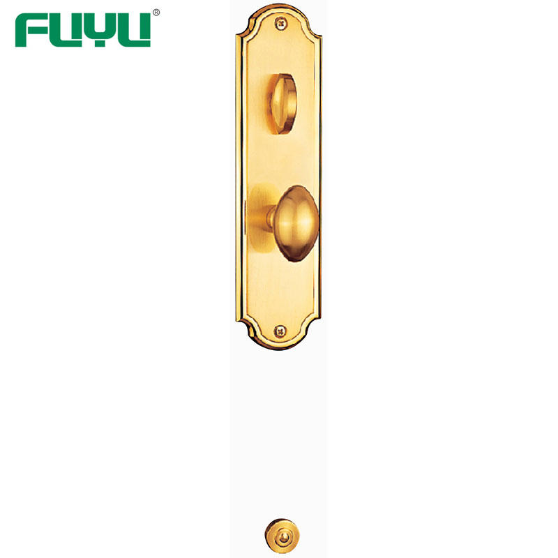 Gold plated luxury outside security door handle lock for wooden doors