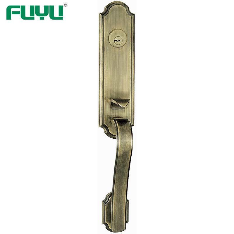 Gold plated luxury outside security door handle lock for wooden doors