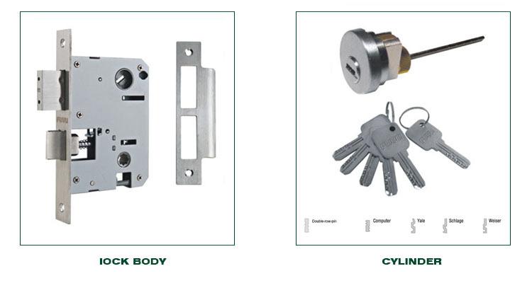 Stainless Steel 304 Single Cylinder Mortise Handle set Locks