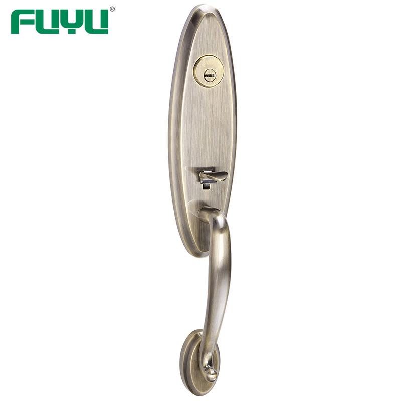 Luxury design heavy duty zinc alloy black grip handle gate door lock for two open door