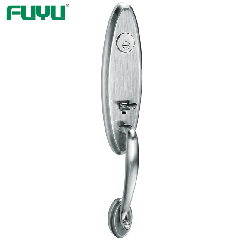 application-Luxury design heavy duty zinc alloy black grip handle gate door lock for two open door-F