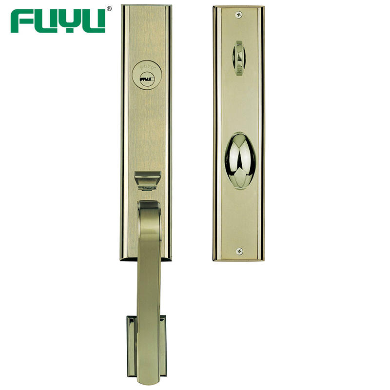 High security zinc entry door handle set with lock