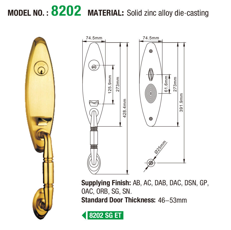FUYU grip zinc alloy mortise door lock on sale for shop