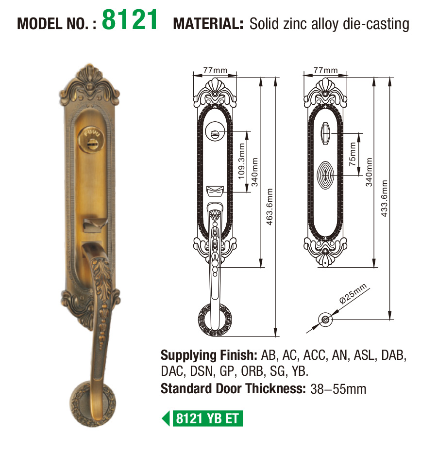 polished full mortise lock handle on sale for shop-5