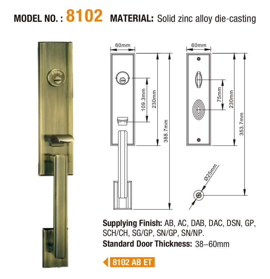 FUYU european zinc alloy door lock for timber door on sale for mall-5