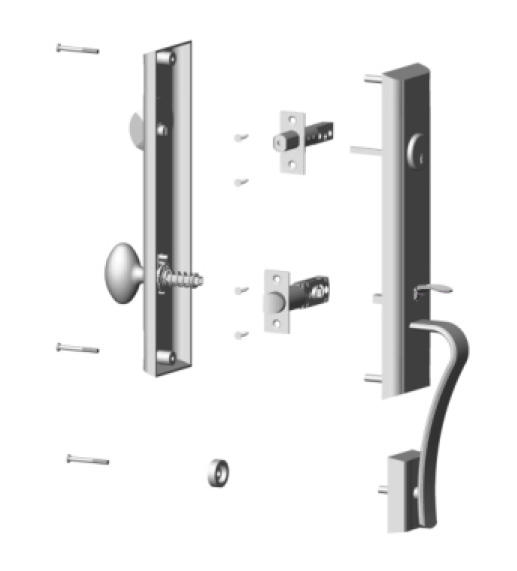 product-FUYU-High security zinc entry door handle set with lock-img