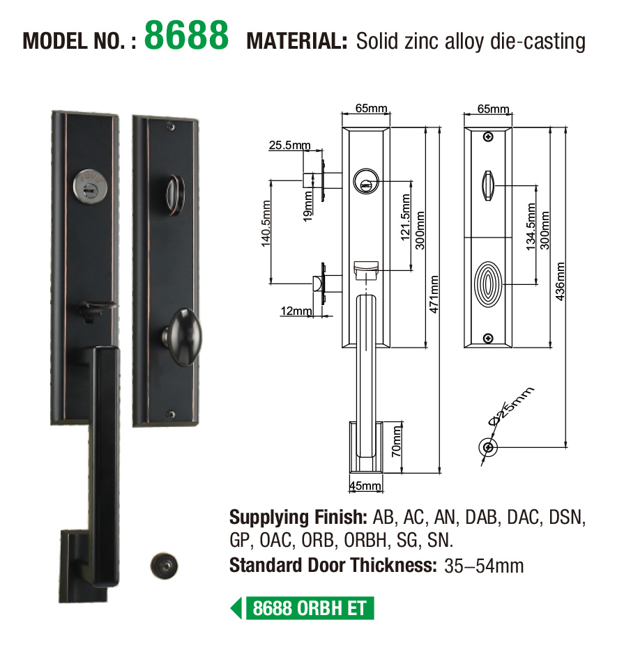 durable zinc alloy door lock for timber door multipoint meet your demands for indoor-6