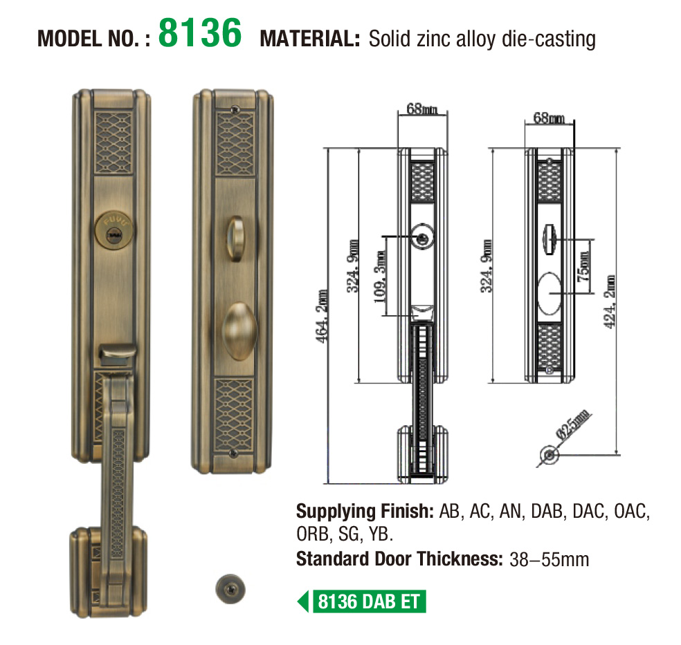 quality zinc alloy door lock for wooden door entrance with latch for shop-5