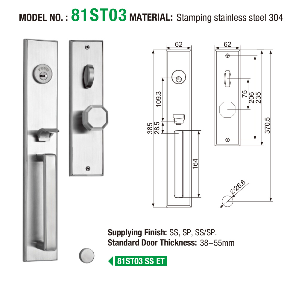FUYU wooden stainless door lock on sale for home-5