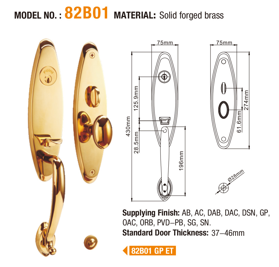 product-China factory new products 2019 luxury mortise brass door handle lock-FUYU-img-1