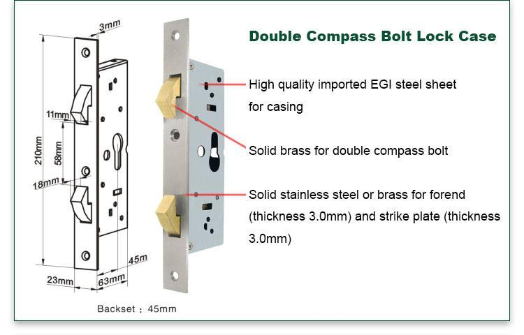 FUYU size zinc alloy door lock for wooden door with latch for shop