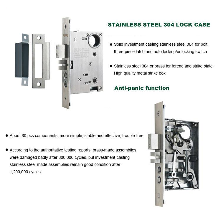 FUYU high -tech five lever mortice lock with latch for mall-5