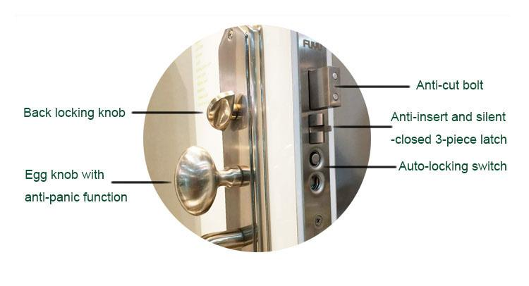 FUYU high -tech five lever mortice lock with latch for mall-4