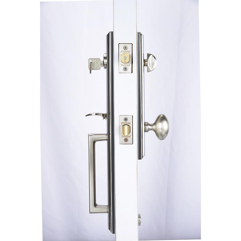 Easy to install tubular security door handle lock for wooden door