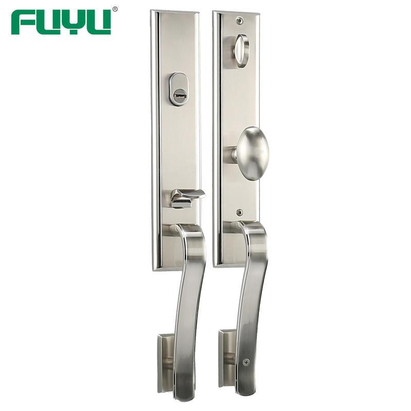 Satin nickel modern style entrance door lock