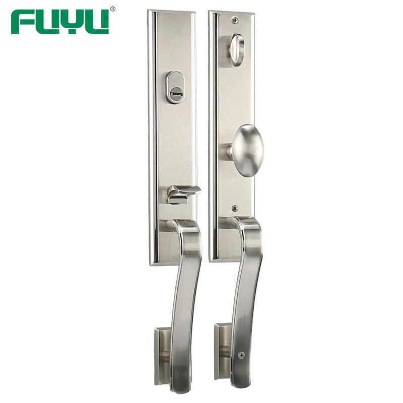 Satin nickel modern style entrance door lock