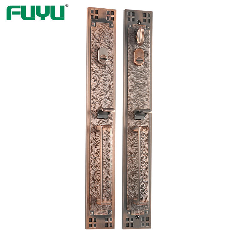 Retro style villa door grip handle lock set