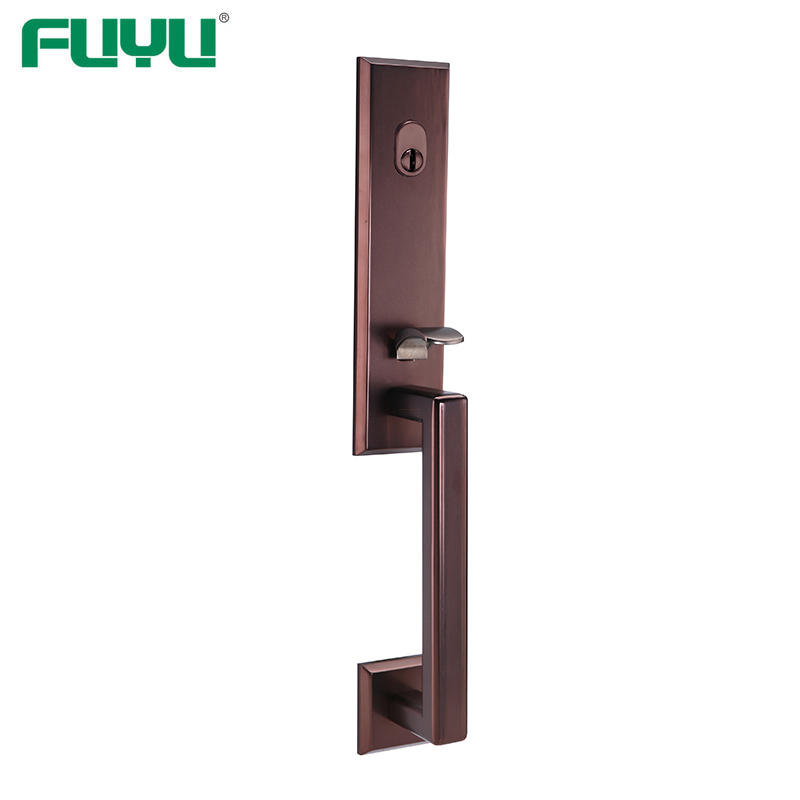Oil rubbed bronze rectangle grip handle door lock