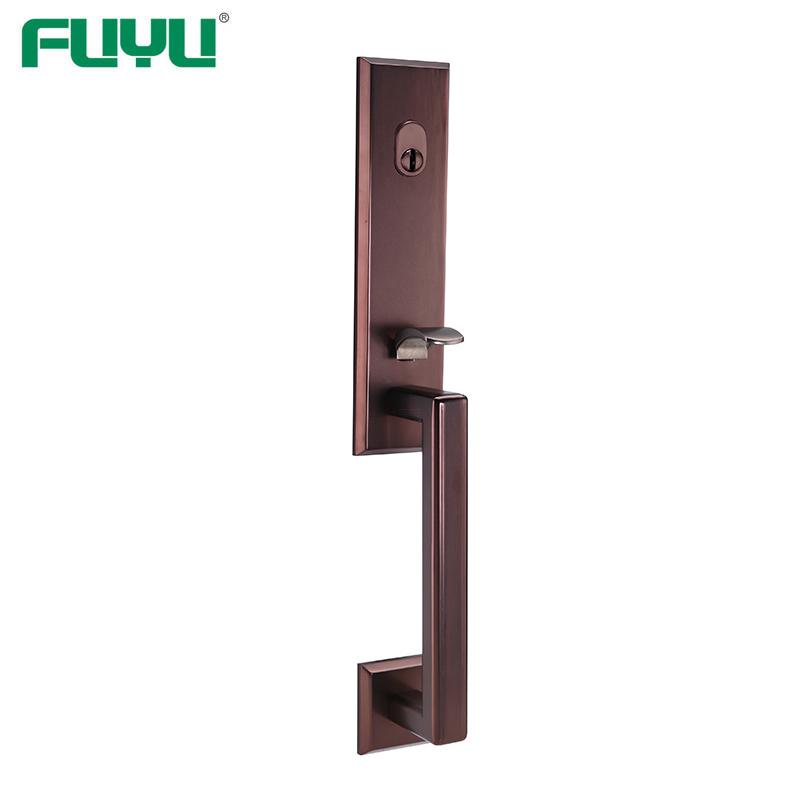 Oil rubbed bronze rectangle grip handle door lock