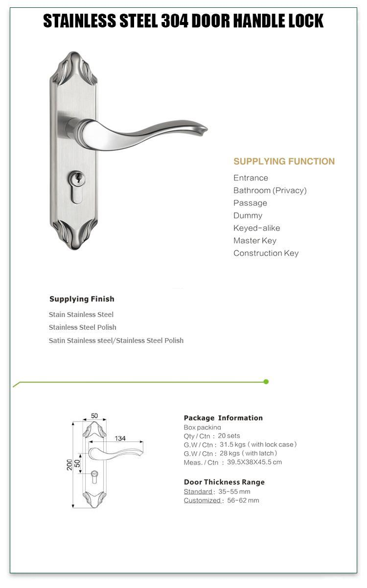 FUYU panel lever handle door lock extremely security for wooden door