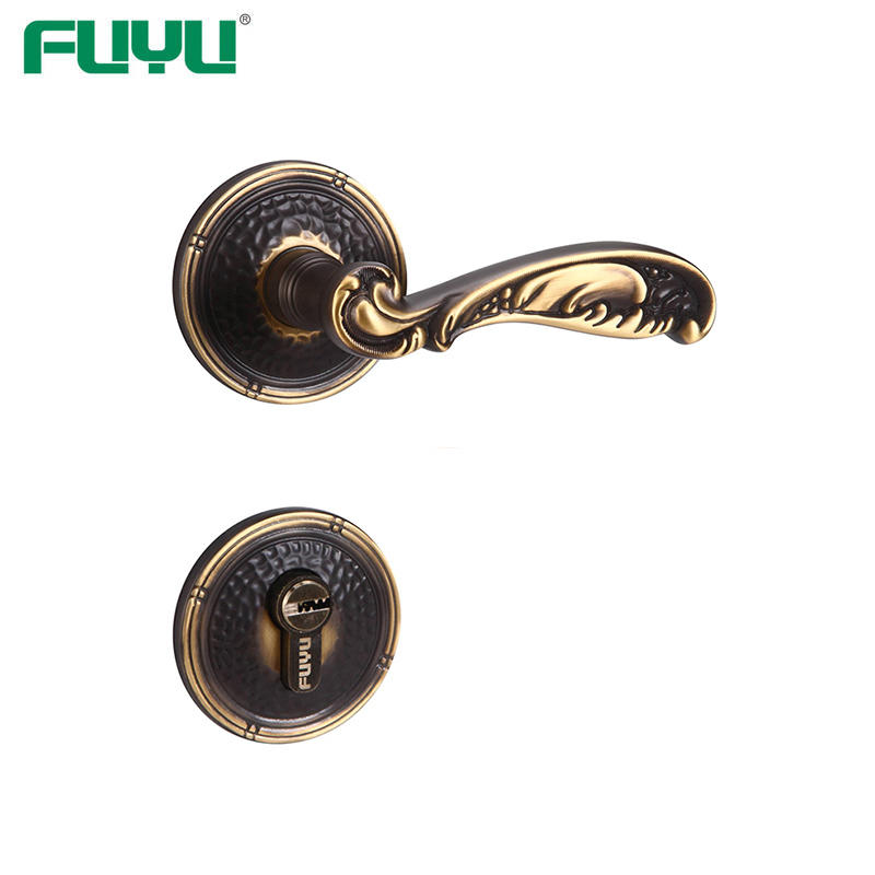 Brass lever security door handle lock