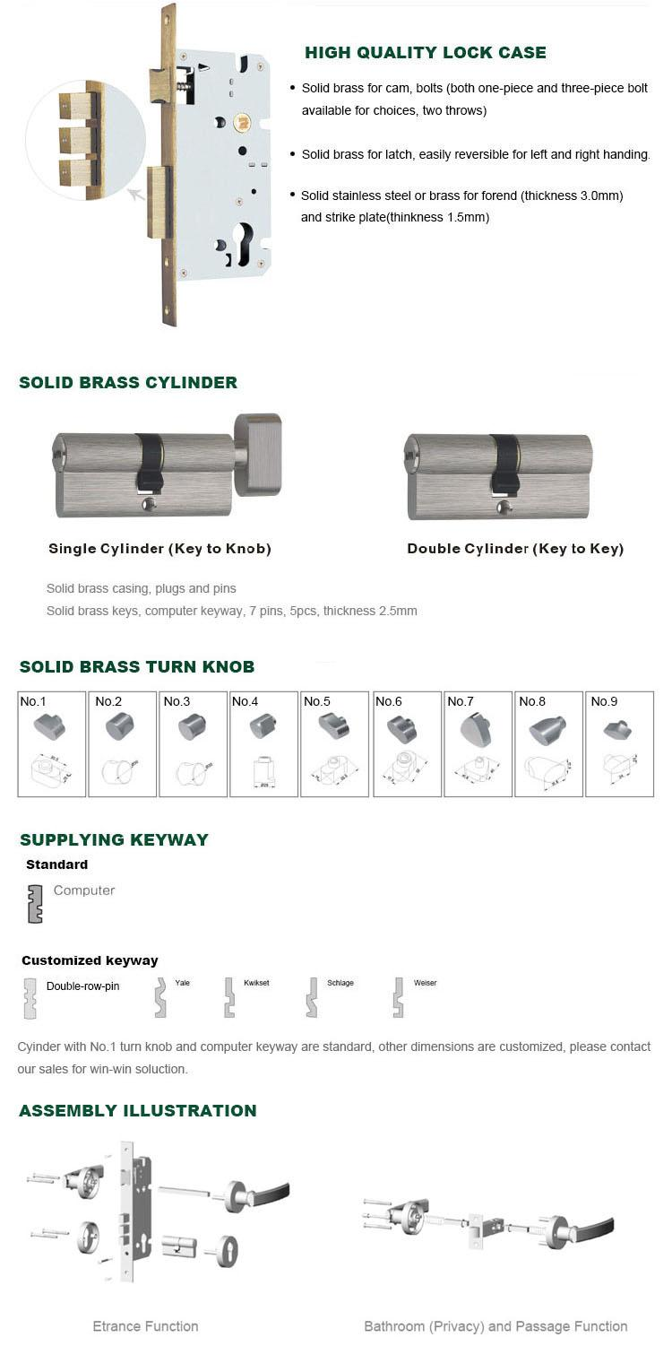 oem wholesale brass door lock lever on sale for wooden door-2