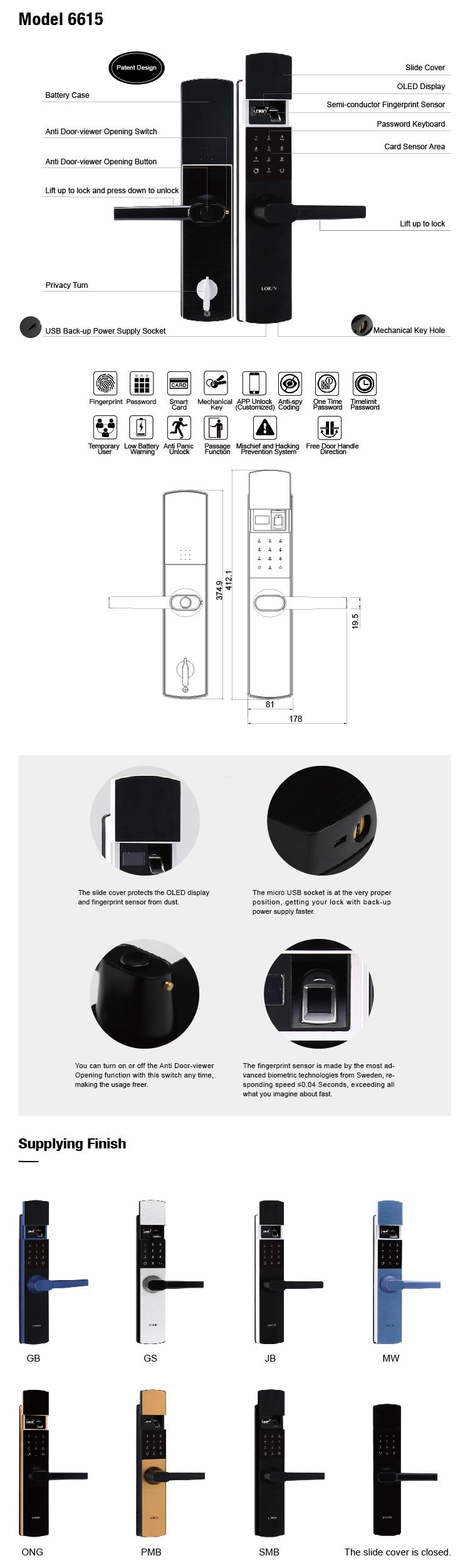 FUYU best fingerprint door lock on sale for residential
