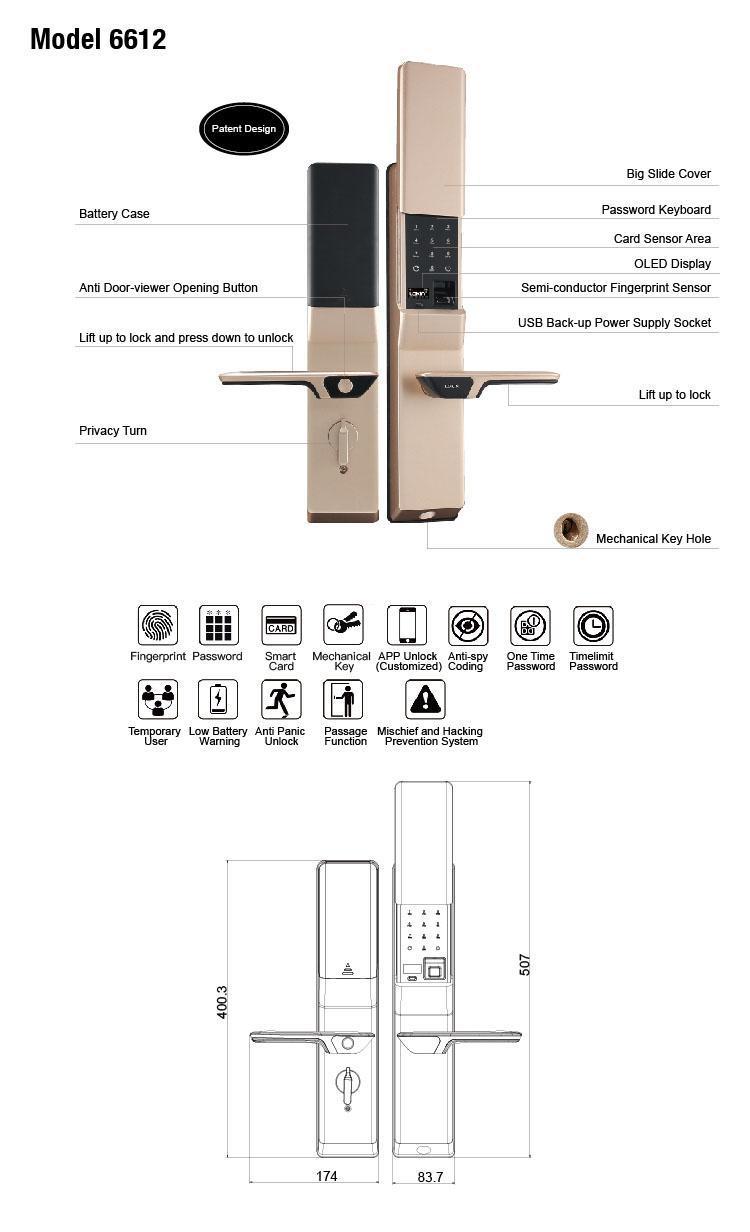 FUYU best biometric door lock for wooden door