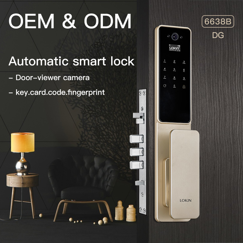 Automatic unlock fingerprint door lock with camera