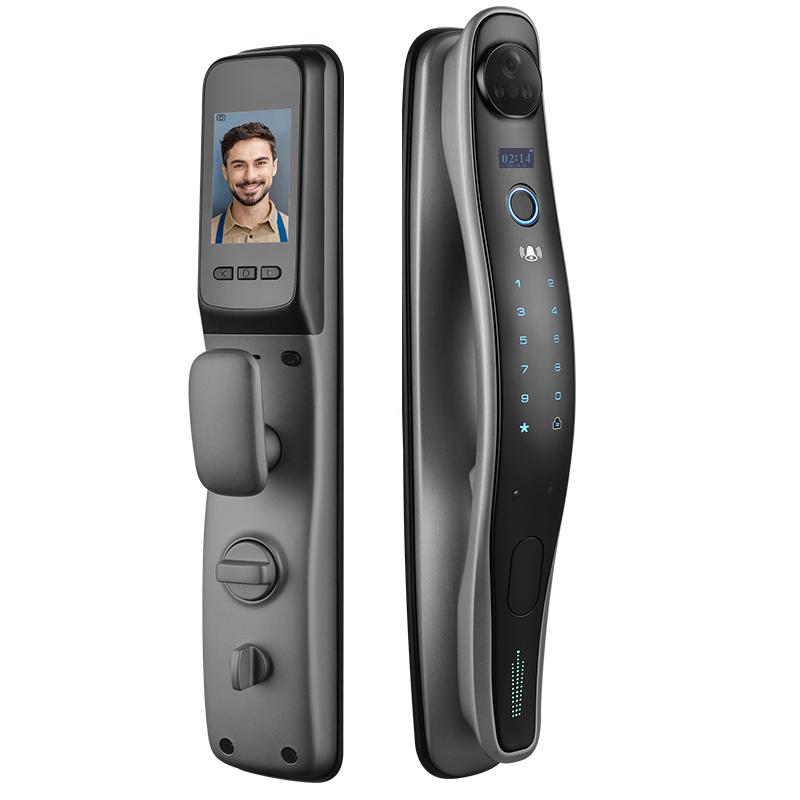 New Design Fingerprint Smart door lock with door-viewer camera and built-in doorbell