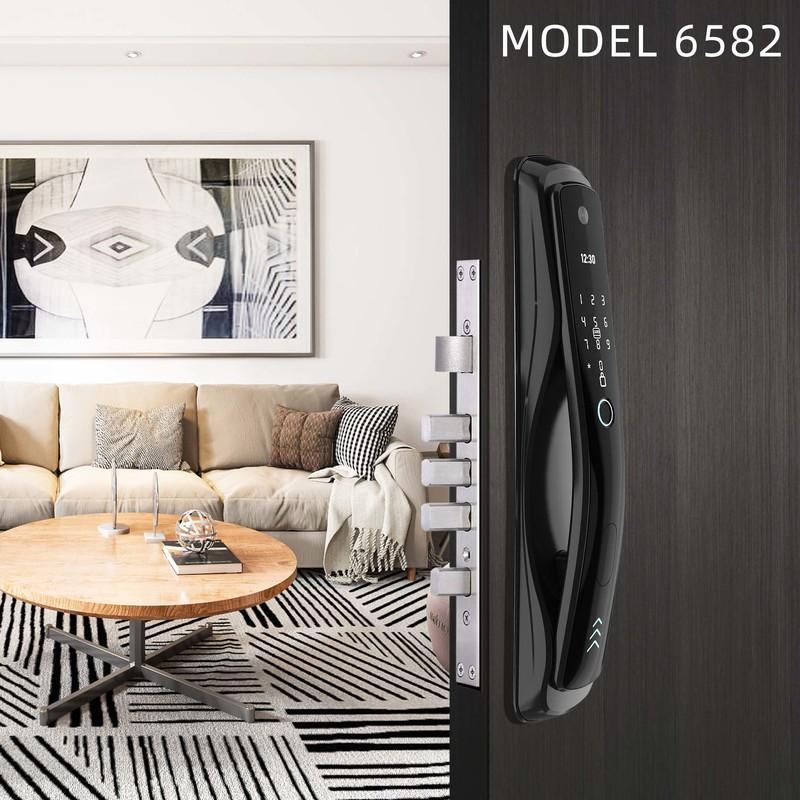 Smart Fingerprint door-viewer camera and built-in doorbell door lock