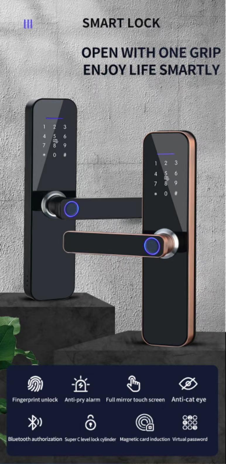 product-Easily Open Simple Hidden Fingerprint Handle Smart Lock With Wechat APP-FUYU-img