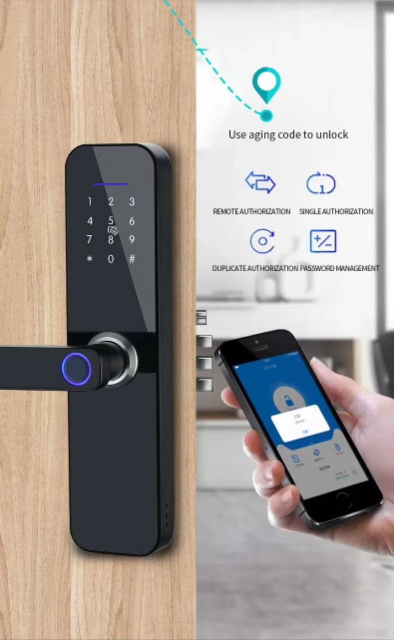 product-Easily Open Simple Hidden Fingerprint Handle Smart Lock With Wechat APP-FUYU-img-1