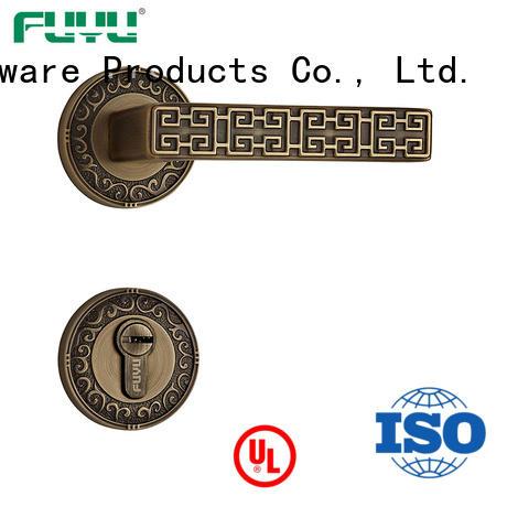FUYU custom lever on rose door handle manufacturer for wooden door