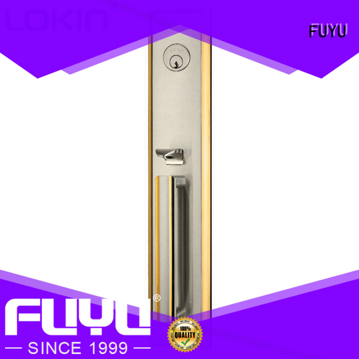 FUYU cylinder door handle lock with latch for indoor