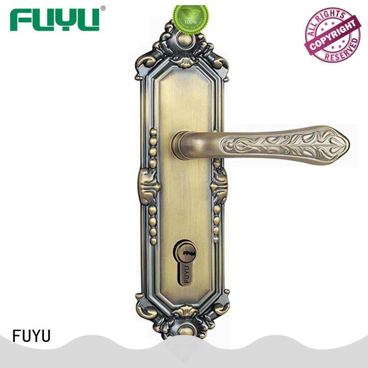 FUYU handle zinc alloy door lock for wood door with latch for shop