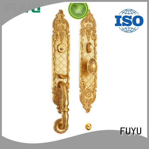 Gold finish brass handle entrance door lock for residential house