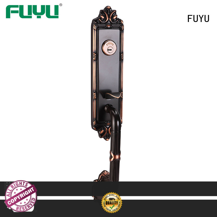 FUYU high security brass bathroom door handles with lock with latch for shop