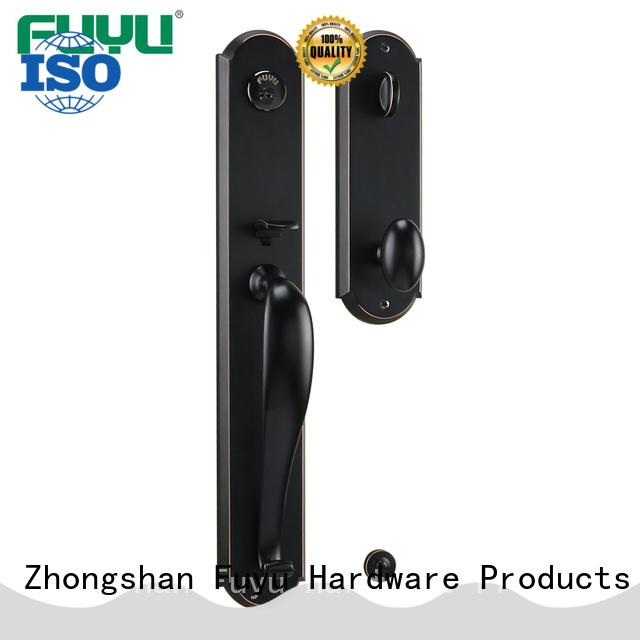 Latest design heavy duty zinc alloy black grip handle gate door lock for main door