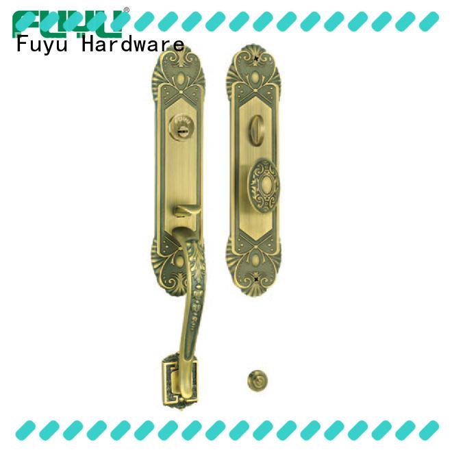 gold brass bathroom door handles with lock zinc for wooden door FUYU