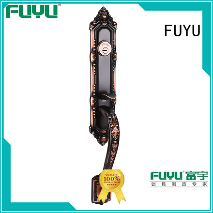 FUYU high -tech brass bathroom door handles with lock with latch for home